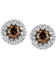 Le Vian® Chocolatier Diamond Stud Earrings (1 ct. t.w.) in 14k White Gold