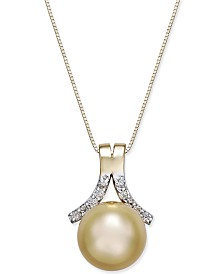 Cultured Golden South Sea Pearl (10mm) and Diamond (1/6 ct. t.w.) Pendant Necklace in 14k Gold