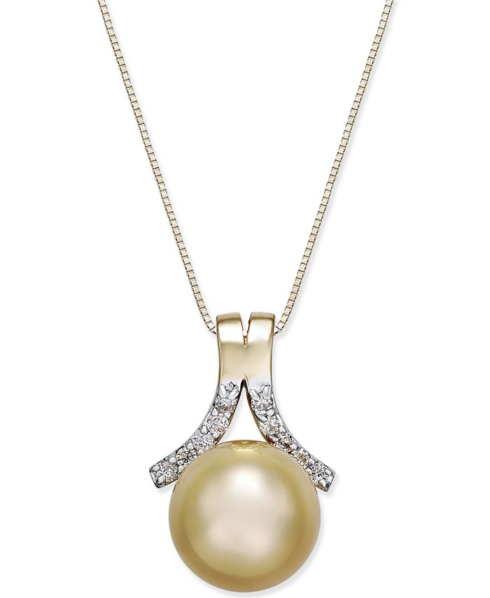 Macy's - Cultured Golden South Sea Pearl (10mm) and Diamond (1/6 ct. t.w.) Pendant Necklace in 14k Gold