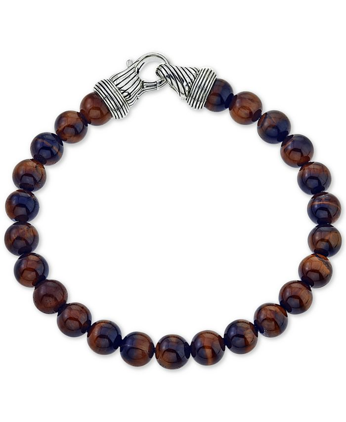 Esquire Men's Jewelry - Men's Red Tiger's Eye (8mm) Beaded Bracelet in Sterling Silver