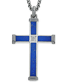 Esquire Men's Jewelry Lapis Lazuli (22-7/8 x 3-3/4mm & 9-1/2 x 3-3/4mm) and Diamond Accent Cross Pendant Necklace in Sterling Silver, Created for Macy's