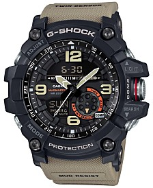 G-Shock Men's Analog-Digital Mud Master Twin Sensor Khaki Strap Watch 56x55mm GG1000-1A5