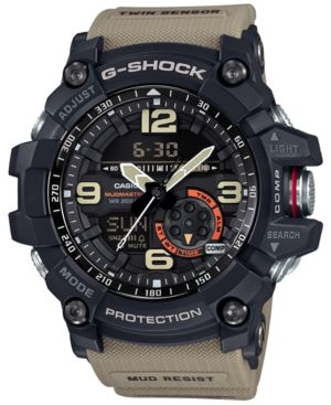 G-SHOCK G-Shock Men'S Analog-Digital Mud Master Twin Sensor Khaki Strap Watch 56X55Mm Gg1000-1A5