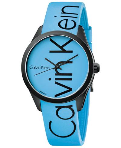 Calvin Klein Men's Color Blue Silicone Strap Watch 40mm K5E51TVN