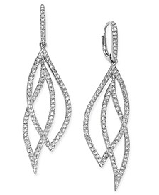 Pavé Crystal Leaf Earrings, Created for Macy's