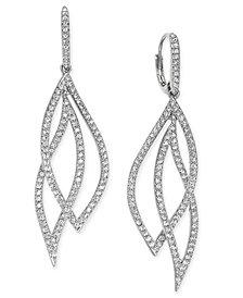 Danori Pavé Crystal Leaf Earrings, Created for Macy's