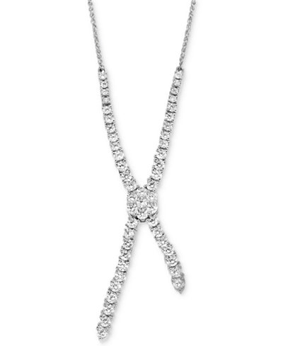 Diamond Lariat Necklace (1-1/2 ct. t.w.) in 14k White Gold