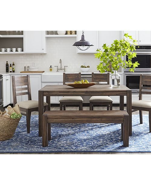 "Furniture Avondale 6-Pc. Dining Room Set, Created for Macy's,  (60"" Dining Table, 4 Side Chairs & Bench)"