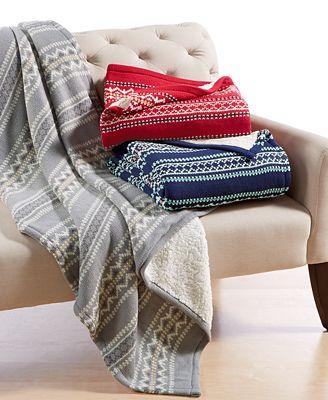 CLOSEOUT! Martha Stewart Collection Sweater-Knit Fair Isle Throw ...