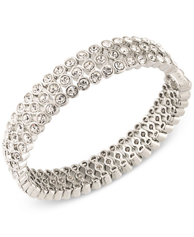Carolee Silver-Tone Crystal Bangle Bracelet