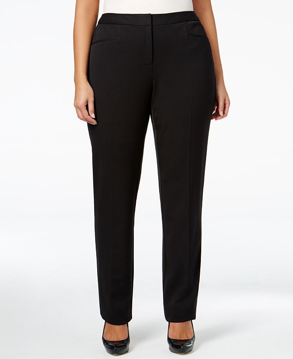 Alfani Plus & Petite Plus Size Modern Straight-Leg Pants, Created for Macy's
