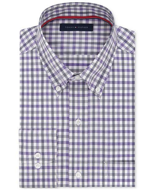 Tommy Hilfiger Men's Classic Fit Non Iron Purple Check Dress