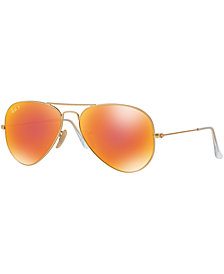 Ray-Ban Polarized Original Aviator Mirrored Sunglasses, RB3025