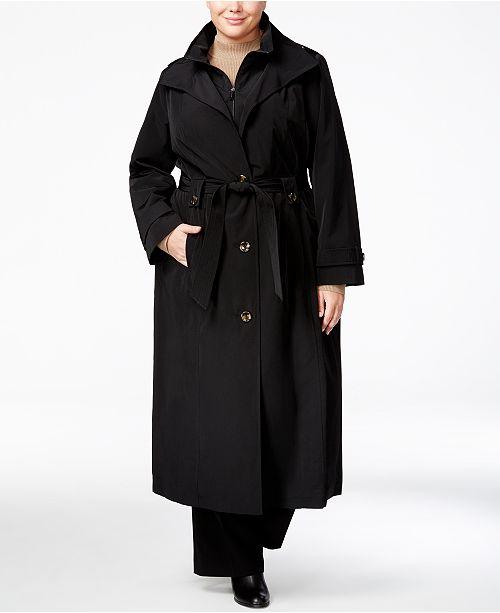 06217bb784f London Fog Plus Size Belted Maxi Raincoat   Reviews - Coats - Women ...