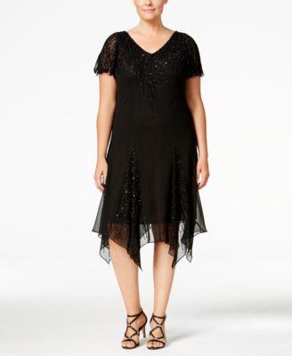 Plus size black handkerchief dress