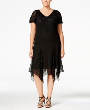 1920s Plus Size Dresses & Quality Costumes J Kara Plus Size Beaded Handkerchief-Hem Dress $239.00 AT vintagedancer.com