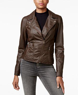 Celebrity Pink Juniors' Faux-Leather Moto Jacket - Coats - Women ...