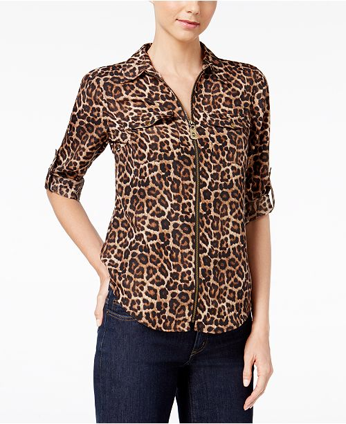 63b4cd796 Michael Kors Animal-Print Zip-Up Utility Shirt   Reviews - Tops ...