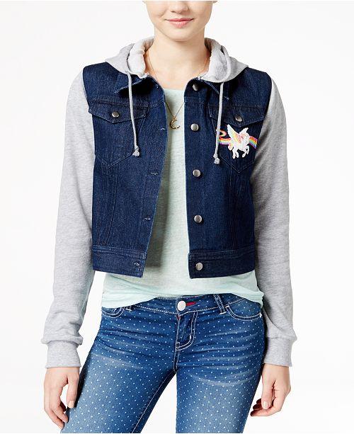 f9dd7ab9 Lisa Frank Juniors' Unicorn Patch Hoodie Denim Jacket & Reviews ...
