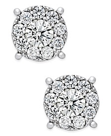 Diamond Cluster Stud Earrings (1 ct. t.w.) in 14k White Gold