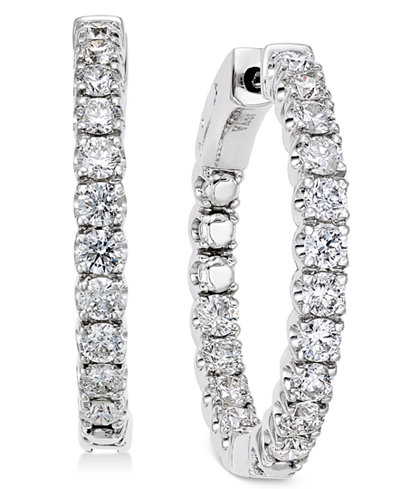 Diamond In-and-Out Hoop Earrings (2 ct. t.w.) in 14k White Gold