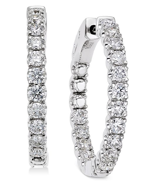 Macy's Diamond In-and-Out Hoop Earrings (2 ct. t.w.) in 14k White Gold