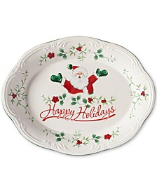 "Winterberry Happy Holidays Santa 11"" Oval Stoneware Platter, Created for Macy's"