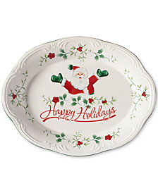 "Pfaltzgraff Winterberry Happy Holidays Santa 11"" Oval Stoneware Platter, Created for Macy's"
