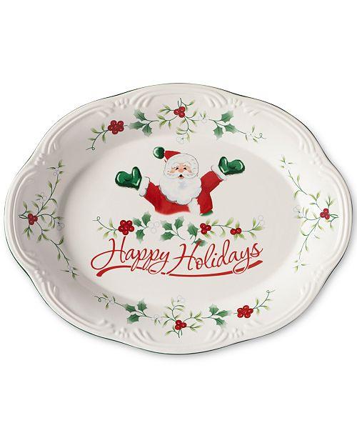 "Pfaltzgraff Winterberry Happy Holidays Santa 11"" Oval Stoneware Platter, Created for Macy's"