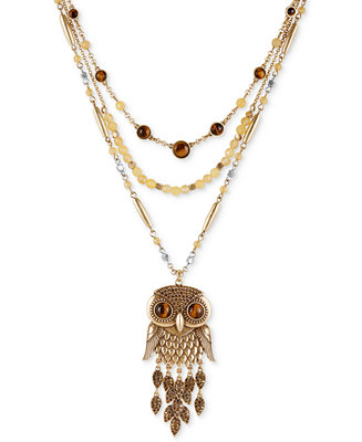 Lucky brand two tone beaded layer owl pendant necklace for Macy s lucky brand jewelry