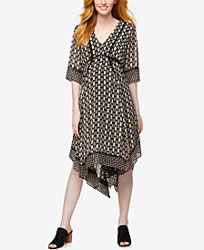 Taylor Maternity Printed Handkerchief-Hem Dress