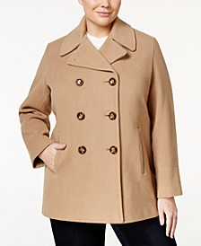 Plus Size Wool-Cashmere-Blend Peacoat, Created for Macy's