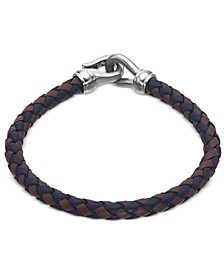 Woven Black and Brown Leather Bracelet in Stainless Steel, Created for Macy's