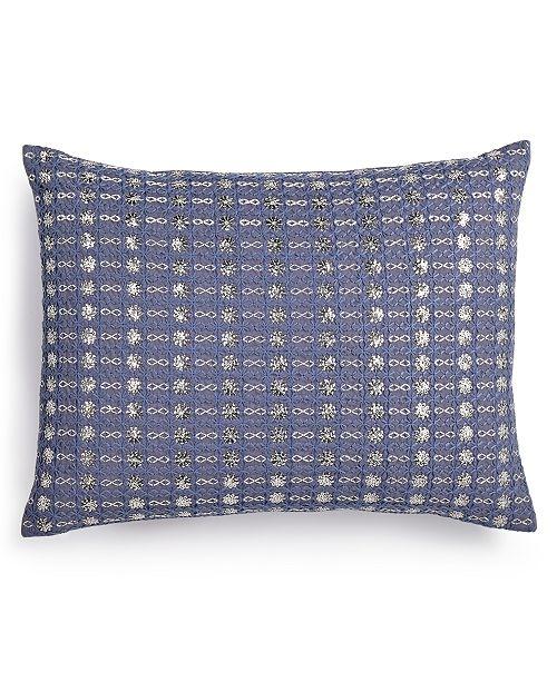 "Calvin Klein Metallic Stitched 12"" x 16"" Decorative Pillow"