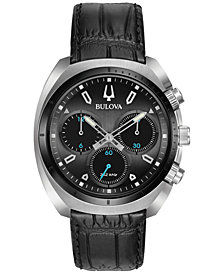 Bulova Men's Chronograph Curv Black Leather Strap Watch 43mm 98A155