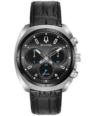 Bulova Men's Chronograph CURV Black Leather Strap Watch 43mm 98A155
