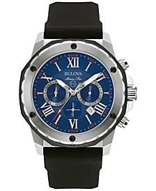 Men's Chronograph Marine Star Black Silicone Strap Watch 44mm 98B258