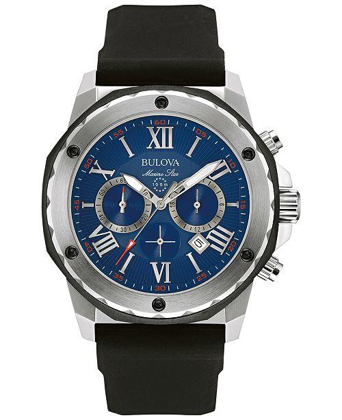 20964d3a640 ... Bulova Men s Chronograph Marine Star Black Silicone Strap Watch 44mm  98B258 ...