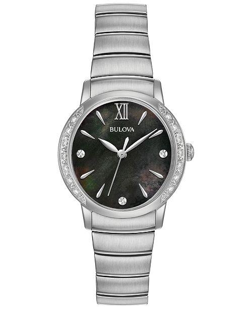 Bulova Women's Diamond Accent Stainless Steel Bracelet Watch 28mm 96R213