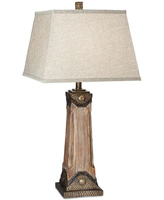 Pacific Coast Faux Wood With Hammered Metal Table Lamp Lighting