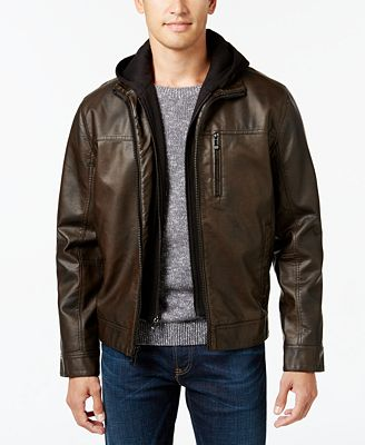 Calvin Klein Men's Faux-Leather Hooded Jacket - Coats & Jackets ...
