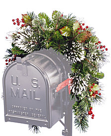 National Tree Company 3' Wintry Pine Collection Mailbox Swag with Red Berries, Cones & Snowflakes