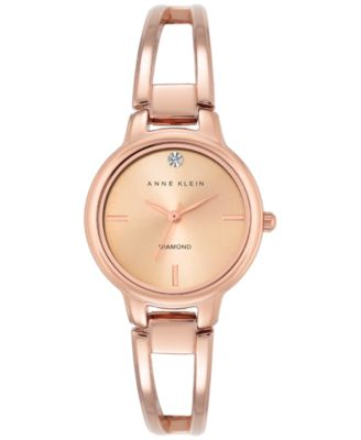 Image of Anne Klein Women's Diamond Accent Rose Gold-Tone Stainless Steel Bracelet Watch 30mm AK-2626RGRG