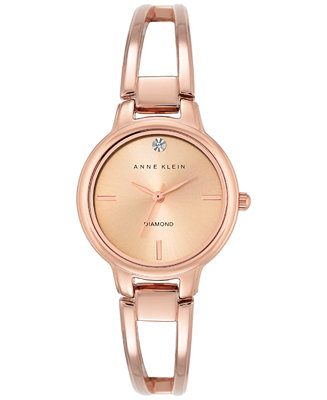 Anne klein women 39 s diamond accent rose gold tone stainless steel bracelet watch 30mm ak 2626rgrg for Anne klein rose gold watch set
