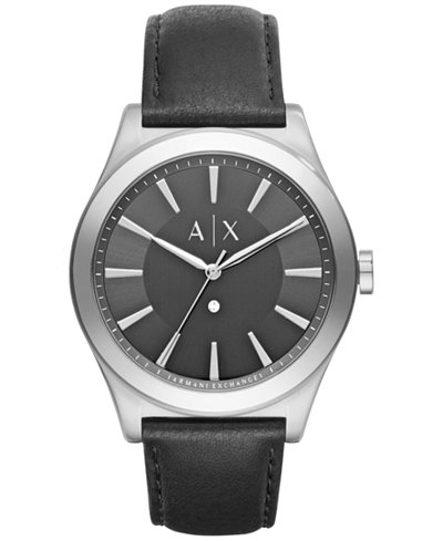 A|X Armani Exchange Men's Diamond Accent Black Leather Strap Watch 44mm AX2325
