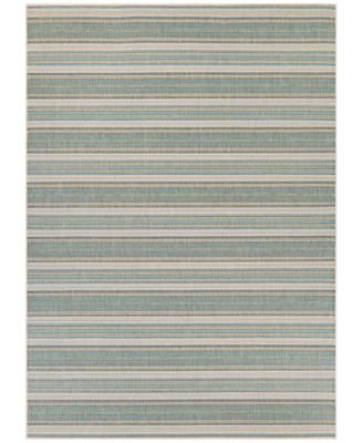 "Monaco Indoor/Outdoor Marbella Blue Mist-Ivory 2'3"" x 11'9"" Runner Area Rug"