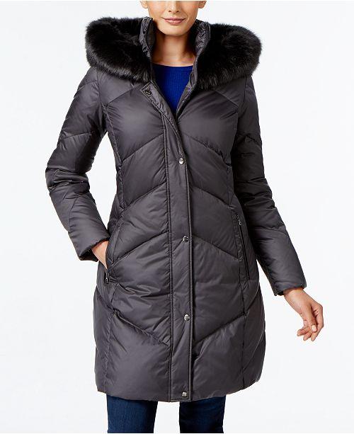 c775bf8ffb60 Larry Levine Faux-Fur-Trim Down Coat   Reviews - Coats - Women - Macy s