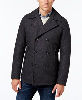 MICHAEL Michael Kors Men's Big & Tall Faux-Leather-Trim Peacoat ...
