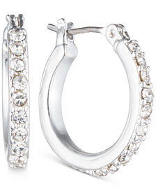 Anne Klein Silver-Tone Crystal Small Hoop Earrings