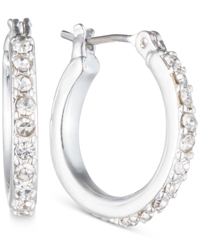 Anne Klein - Silver-Tone Crystal Small Hoop Earrings